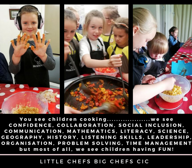 We offer unique workshops and after school clubs teaching children and young people of ALL abilities how important a healthy diet is as part of a healthy lifestyle.   Our workshops provide opportunities for pupils to actively learn beyond the classroom, enrich the curriculum and support the Healthy Schools initiative.   We can travel to your school where we will provide all food, equipment, aprons and resources.  Our sessions can be delivered in the classroom or in the school hall and we do not necessarily require an oven (though this is preferred), just hot running water, a sink and handwashing facilities.  Outcomes, evidence and photographs (if consent is gained) can be obtained and shared from our workshops/courses.  We are fully insured, enhanced DBS approved, are qualified first aiders, abide by strict safeguarding procedures and complete full risk assessments prior to each course and session. We are also able to adapt our recipes to specific dietary requirements.