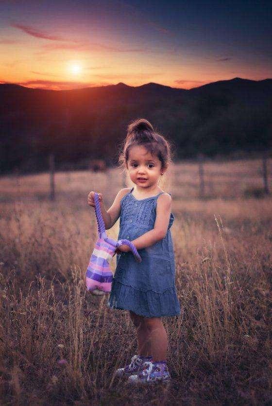 young girl n bag